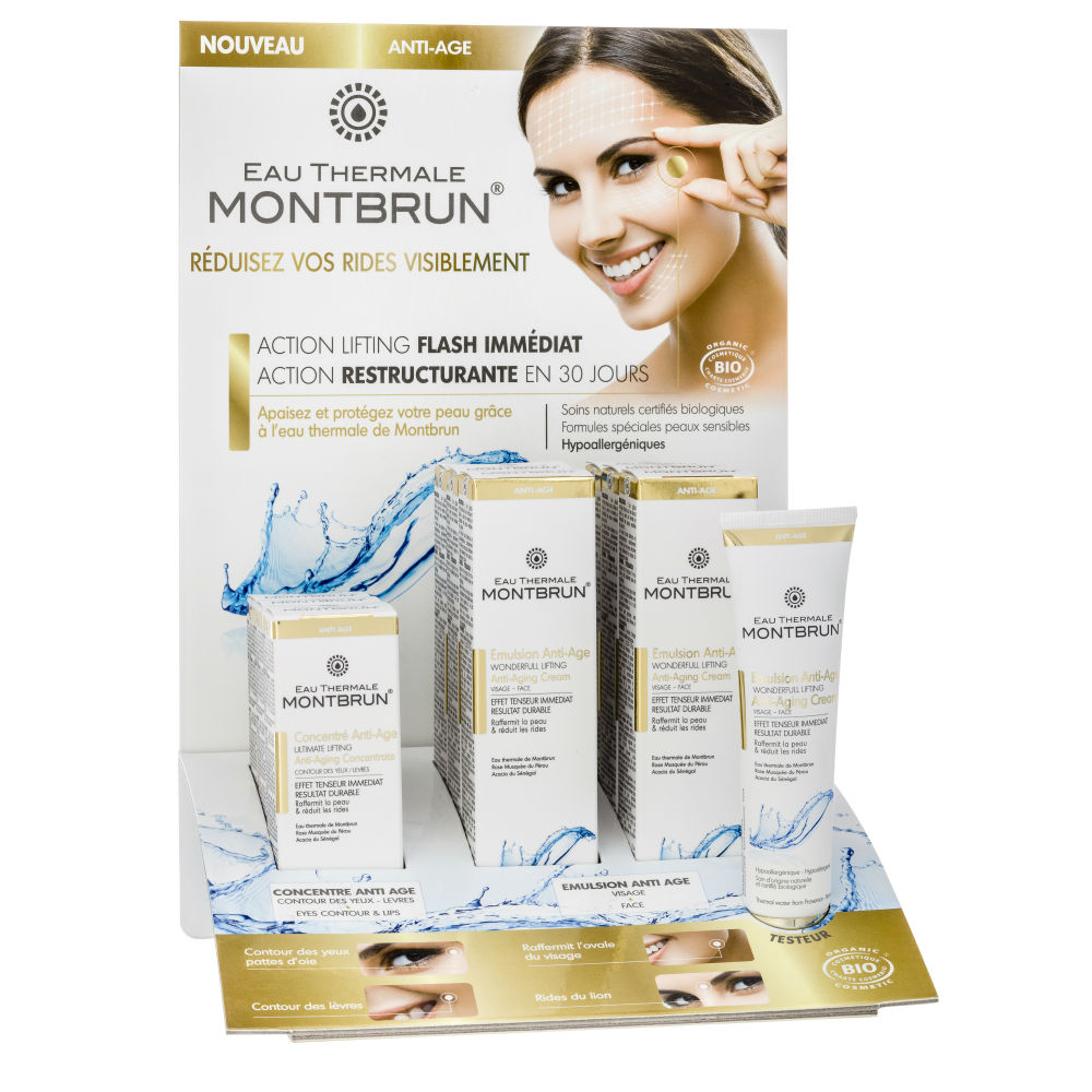 Distributeur Montbrun anti-aging met thermaal water display