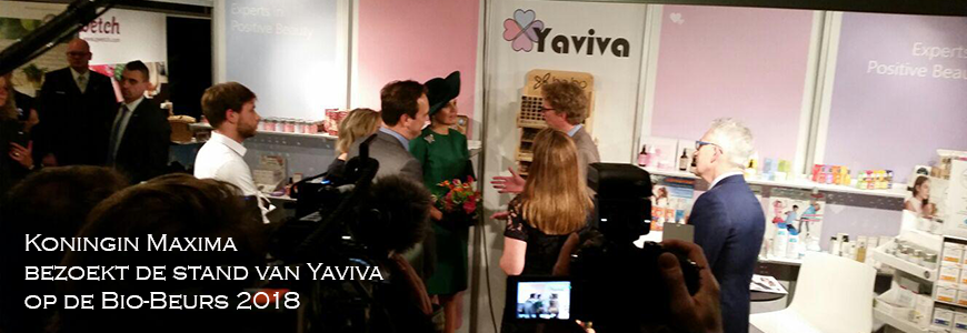 Koningin Maxima bezoekt stand van Yaviva op Bio-beurs